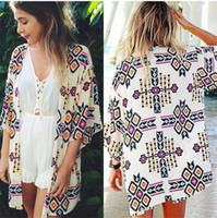 kadınlar için plaj partisi kıyafetleri toptan satış-Yeni Varış 2019 Yaz Kadın Moda Şifon Bluz Hırka Plaj Kimono Baskı Seksi Artı Boyutu Giyim Parti Kulübü Bluz
