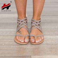 34 размер обуви оптовых-Плюс размер 34-43 квартиры летние женские сандалии 2017 новая мода Повседневная обувь для женщины Европейский Рим стиль сандалии
