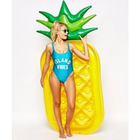 Wholesale Large Pineapple - Inflatable Pineapple Float 190*90*20CM ECO-Friendly PVC Large Floatie Lounge Summer Outdoor Swmming Pool Raft Fun Adult Kid Swim Party Toys
