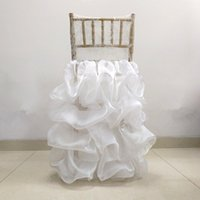 ingrosso copertine di nozze dell'increspatura-Pizzo Organza Weddding Chiavari Chair Cover Romantico Ruffled Wedding Chair Decor Engagement Party Accessori Custom Made