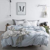 cama chinesa azul venda por atacado-Lençol de algodão Puro Set Lençol Queen Azul Da Cama Da Menina Capa de Edredão Capa de Edredão Estilo Fresco Chinês Tradicional