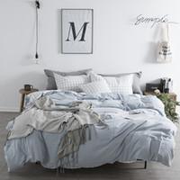 blaue plaid bettbezüge großhandel-Reine Baumwolle Bettlaken Bettlaken Set Queen Blue Bettwäsche Mädchen Plaid Bettbezug Fresh Style Bettwäsche Traditionelle chinesische