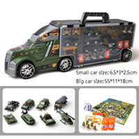 spiele rennen großhandel-Transport Carrier Truck Set mit bunten Mini Mental Druckguss Cars Innovative Racing Game Map - Autotransporter Spielzeug für Kinder Spielzeug