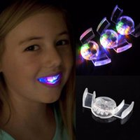 Wholesale glowing teeth - Halloween New Novelty Flashing Flash Brace Mouth Guard Piece Glow Tooth Funny LED Light Kids Children Toys Festive Party Supplies