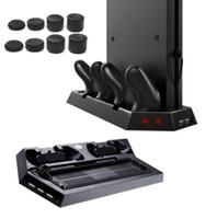 ps4 usb hub оптовых-2018 горячие продажи 2 в 1 PS4 Slim вертикальная подставка с охлаждающим вентилятором зарядки стенд Dual USB HUB зарядное устройство порты для PS4 Slim Playstation 4