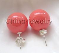ingrosso grandi orecchini di conchiglia-Mazing grande 14mm perfetto rotonda rosa corallo colore conchiglia di mare perla orecchini stud realistica Fancy lady's 925 orecchino d'argento