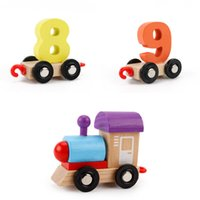 головоломки деревянного поезда оптовых-Новые детские деревянные строительные блоки номер познавательный поезд красочные развивающие цифровые головоломки деревянные поезда детские сборки головоломки игрушки