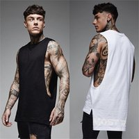 ingrosso giubbotto fitness bianco-CHU YOGA 2018 Cotton Gym Canotta bianca Sport T Shirt Workout Uomo senza maniche Running Training loose Fitness Vest Top T-shirt 38