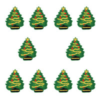 Wholesale wholesale christmas iron appliques - 10PCS Christmas tree embroidery patches for clothing iron fashion patch for cloth applique sewing accessories on clothes iron on patches DIY