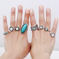 conjuntos de jóias de pedra branca venda por atacado-7 pçs / set Vintage Knuckle Ring Set para Mulheres Midi Dedo Étnico Pena Gota de Água Anéis Azul Branco Pedra Por Atacado jóias