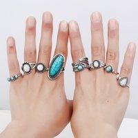 conjuntos de joyas de piedra blanca al por mayor-7 Unids / set Vintage Knuckle Ring Set para Mujeres Midi Finger Étnico Feather Water Drop Anillos Azul Blanco Piedra Joyería Al Por Mayor
