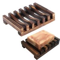 natürlicher bambus großhandel-Natürliche Holz Bambus Seifenschale Tray Halter Storage Soap Rack Platte Box Container für Bad Dusche Platte Badezimmer
