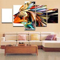soyut sanat posteri toptan satış-Duvar Sanatı Dekoratif Resim Modern HD Baskı Tuval Boyama Ev Dekorasyon Renk Soyut Kadın Karakter Poster Odası Için