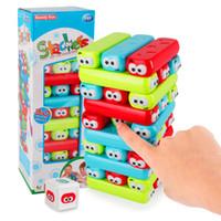blocos de plástico para bebê venda por atacado-Blocos de Tijolos Dos Desenhos Animados Torre de Plástico Jenga Jogo Empilhador Blocos de Construção Bebê Empilhamento Brinquedo Teaser Cérebro Jogo Interativo Brinquedos Educativos