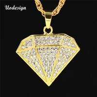 Wholesale big gold pendants for men resale online - Uodesign Hip Hop Necklace Bling Iced Out Jewelry for Men Big Rhinestone Pendant Necklace