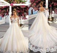 Wholesale Simple Boat Neck Organza Gown - Vintage Plus Size Long Sleeve Lace Wedding Dresses 2018 Lace Boat Neck Beach Bodice Appliques Bridal Gowns Arabic Dubai Vestido De Novia