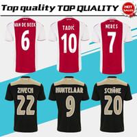 tamaño rojo de los jerseys al por mayor-Ajax home rojo blanco Soccer Jerseys 18/19 Ajax away Camiseta de fútbol 2019 # 10 TADIC # 34 NOURI # 25 DOLBERG uniforme de fútbol talla S-4XL