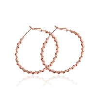 Wholesale Twisted Gold Plated Hoop Earrings - New 18K White Rose Gold Color Big Twisted Round Circle Loop Hoop Earrings Fashion Party Wedding Jewelry Bijoux Aros for Women