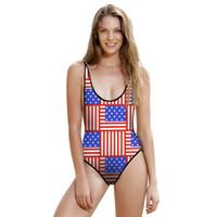 женские женские костюмы оптовых-Новая мода сексуальная девушка лето флаг США печатает One Piece купальник ремни спинки женщины купальники купальный костюм