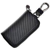Wholesale fiber carbon keys case - Kinzd Black Car Key Holder Leather Car Key Chain Coin Holder Carbon Fiber Zipper Case Pocket Wallet