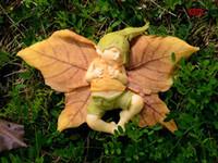 ángeles decoración al aire libre al por mayor-Nuevo diseño resina ángel estatuilla árbol de Navidad / Halloween decoraciones jardín decoración hada durmiente bebé estatua al aire libre