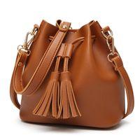 7b616bae862c Hot sale! New fashion bucket shape drawstring female shoulder bags Tassel crossbody  bags Magnetic buckle designer handbags