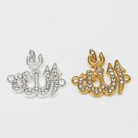 brazaletes musulmanes al por mayor-30 unids color mezclado de oro y plata religioso musulmán islámico encanto diamante colgante collar pulsera DIY joyería que hace la mezcla hecha a mano