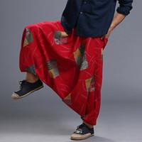 мужчины широкие брюки ноги оптовых-Men's Cotton Red Big Crotch Crago Pants Hippy Elastic Waist Harem Wide leg Ninja Pants Trousers Casual Nepal Male