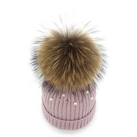 Wholesale cap fur ball top for sale - Women Racoon Dog Ball Top Knitted Hat Winter Curling Warm Pearl Wool Cap Outdoor Driving Riding Thickening Beanies ch ff