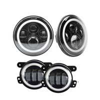 Wholesale halo headlight kits - For car led headlight with halo kit 40w 2x7inch led front light with DRL + 2x 4'' 30W led fog lights for JEEP Wrangler
