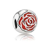 pandora venda por atacado-Original Belle Enchanted Rose Charme Serve Encantos Pandora Pulseiras 925 Sterling Silver Bead DIY Jóias Primavera