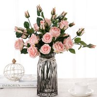 Wholesale french artificial flowers - Artificial silk 1 Bunch French Rose Floral Bouquet Fake Flower Arrange Table Daisy Wedding Flowers Decor Party accessory Flores