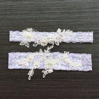 dantelli düğün için garters toptan satış-2 Parça set Dantel Aplikler İnciler Gelin Bacak Garters Balo Jartiyer Gelin Düğün Jartiyer Kemer Sahte Inciler Ücretsiz Boyutu Dantel Gelin aksesuarları