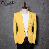 ropa de talla más al por mayor-PYJTRL 2018 Mens Classic Plus Size 5XL Chaqueta de traje amarillo Moda Casual Blazer diseños traje Homme etapa ropa para cantantes S18101902