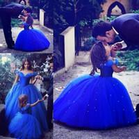 ingrosso vestito blu dalla principessa 3t-Cinderella Girls Pageant Dress 2018 Princess Royal Blue Abito da prima comunione Gown Kids Party Abiti da cerimonia Abiti da sposa per ragazze