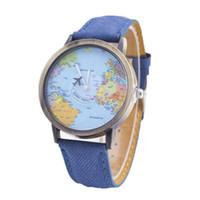 Wholesale Glass Airplane - Fashion unisex mens women cowboy leather watches airplane pointer world maps retro ladies students dress quartz wrist watches