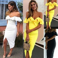 Wholesale strapless cocktail dresses online - Fashion Womens Sexy Ruffle Split Bodycon Ladies Evening Party Cocktail Dresse
