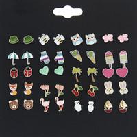 ingrosso modelli di orecchini coreano-20 paia / lotto diversi modelli coreani orecchini stud lega orecchini a bottone donne del fumetto animale shapel monili dell'orecchino stud set spedizione gratuita