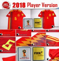 Wholesale Flashing Cups - Player version Wholesale Thai quality 2018 world cup ASENSIO MORATA Spain soccer jerseys Sergio Ramos INIESTA Camisa size S-3XL