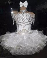 Wholesale pageant dresses children cupcake resale online - Little Puffy White Ball Organza Toddler Gown Girls Cupcake Dress Rhinestones Gowns Girls Pageant Dresses New Formal Wear Beaded Tbcnj