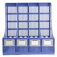 livros de revistas venda por atacado-Atacado-Multifuncional De Armazenamento De Plástico Cabide 4 Seção Divisor de Papel Livro Rack de Rack de Escritório Titular Home Book Book Box Estante