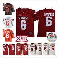 Wholesale full bowl - NCAA 2017 Rose Bowl Oklahoma Sooners Baker Mayfield College Football Stitched white Brown #6 Baker Mayfield Cleveland Jersey S-3XL