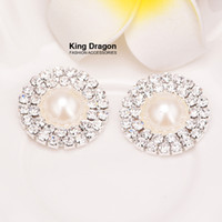 Wholesale Flat Back Pearl Rhinestone Wholesale - Crystal Double Row Rhinestone Button Pearl Button Used On Invitation Card 25MM Flat Back Silver Color 20pcs lot KD17