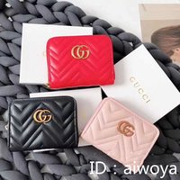Wholesale coin purse gifts online - high quality Red Wallets Purse Clutch Bags Classic Brand Short Wallet Gifts For Men Women Designer Coin Purses With AAA