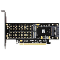 Wholesale Pci Interface Cards - SK16 M.2 NVMe SSD NGFF TO PCI-E3.0 X16 adapter M Key B Key mSATA interface card Suppor PCI Express 3.0 3 in 1 dual 12v+3.3v