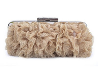 Wholesale wholesale red clutches for sale - Pleated Satin clutches Evening Women Handbag Clutch With Elegant Floral Lace Chain Strap Wedding Cocktail Party Bag