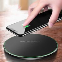 Wholesale iphone block - New ultra thin wireless block filled QI circular launcher aluminum alloy wireless charger iphone8 fast charging 9V