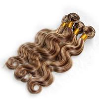 insan saçı örgü renk siyah toptan satış-Vurgulamak Kahverengi Sarışın Vücut Dalga İnsan Saç Örgüleri Mix Renk 8/613 Siyah Beyaz Kadınlar Için Piyano İnsan Saç Örgüleri Hızlı Gemi