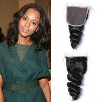 Wholesale 18 human hair colour for sale - European x4 Loose Wave Lace Closure Natural Colour Virgin Human Hair Can Be Bleached G EASY