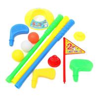 ingrosso palline da golf giocattolo-Commercio all'ingrosso! Set da golf Putter Plastic 3 Balls + 2 Tees + 3 golf Cue + Golf Hole Kids Toy